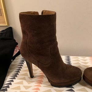Nine West Shoes - Brown suede ankle booties great condition.